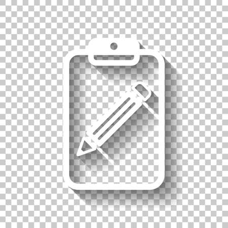 tablet, paper and pencil. White icon with shadow on transparent background