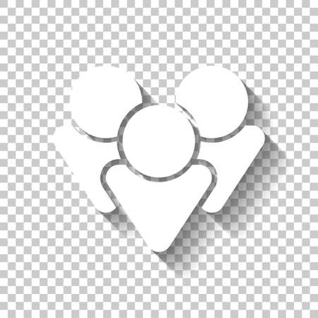 Team group icon. White icon with shadow on transparent background