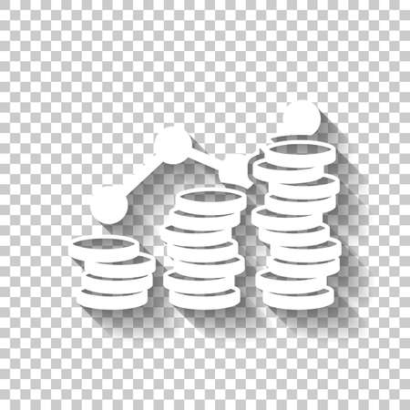 Coins stack, finance grow. White icon with shadow on transparent background Çizim