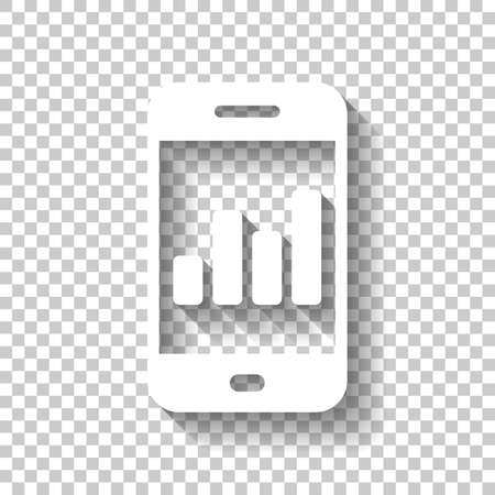Finance graphic, mobile phone. White icon with shadow on transparent background Иллюстрация