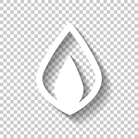 Simple fire flame icon. White icon with shadow on transparent background Illustration