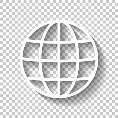 Simple globe icon. Linear, thin outline. White icon with shadow on transparent background Ilustracja