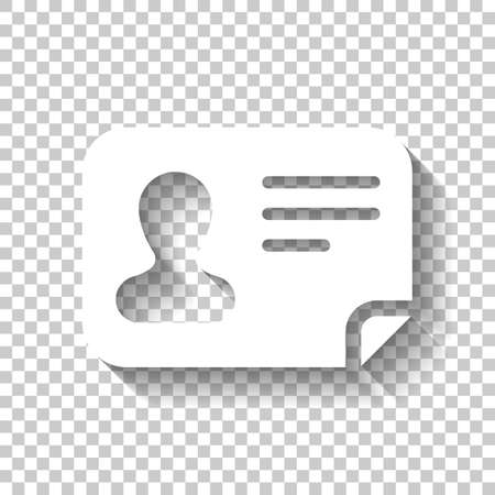 Identification card icon. ID profile. White icon with shadow on transparent background