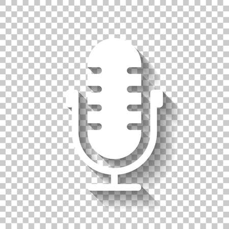 Simple microphone icon. White icon with shadow on transparent background
