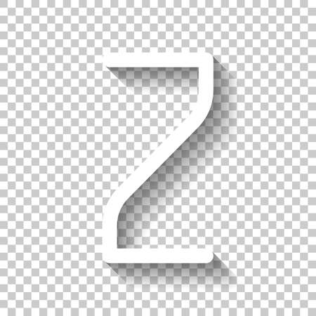 Number 2, numeral, two. White icon with shadow on transparent background