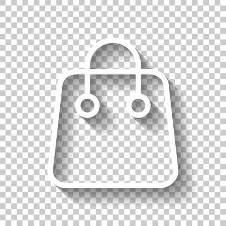 Shopping bag icon. Linear, thin outline. White icon with shadow on transparent background