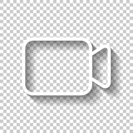 Video camera icon. Linear, thin outline. White icon with shadow on transparent background Banque d'images - 103145236