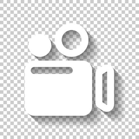 Simple video camera icon. White icon with shadow on transparent background