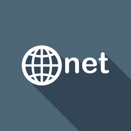 one of main domains, globe and net. White flat icon with long shadow on background