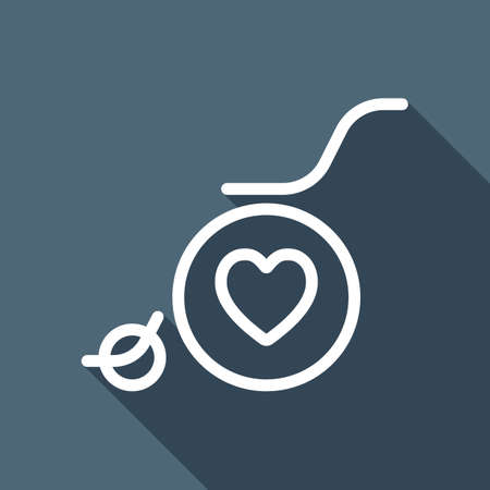 wheelchair and heart, outline icon. White flat icon with long shadow on background