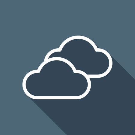 Mostly cloudy icon. Simple linear icon with thin outline. White flat icon with long shadow on background