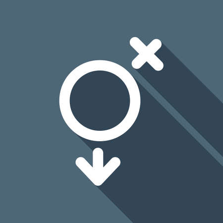 gender symbol. linear symbol. simple transgender icon. White flat icon with long shadow on background Illustration
