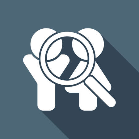 Human resources. Search teamgroup. Man, woman and magnifying symbols. White flat icon with long shadow on background
