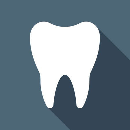 Silhouette of tooth. Simple icon. White flat icon with long shadow on background