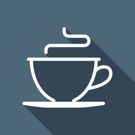 Simple cup of coffee or tea. Linear icon, thin outline. White flat icon with long shadow on background Фото со стока - 103145596