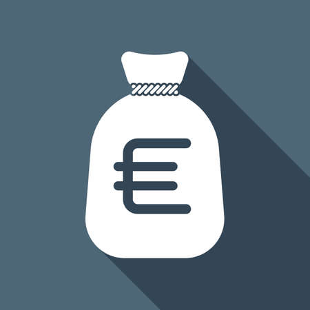 Money bag with euro. Full moneybag icon. White flat icon with long shadow on background