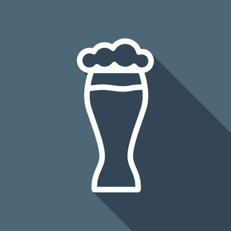 Beer glass. Simple linear icon with thin outline. White flat icon with long shadow on background