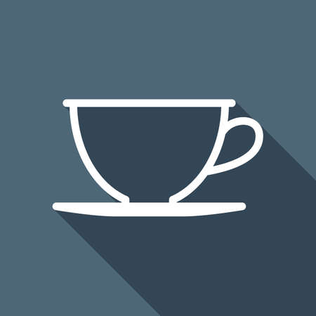 Simple cup of coffee or tea. Linear icon, thin outline. White flat icon with long shadow on background Иллюстрация