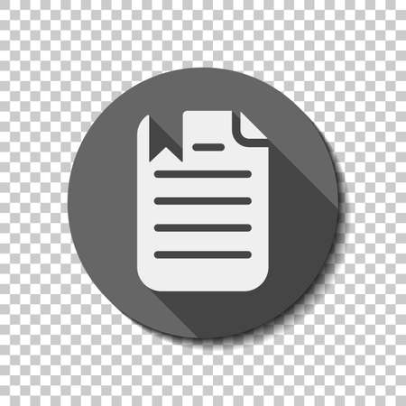 document with text and bookmark. White flat icon with long shadow in circle on transparent background. Badge or sticker style