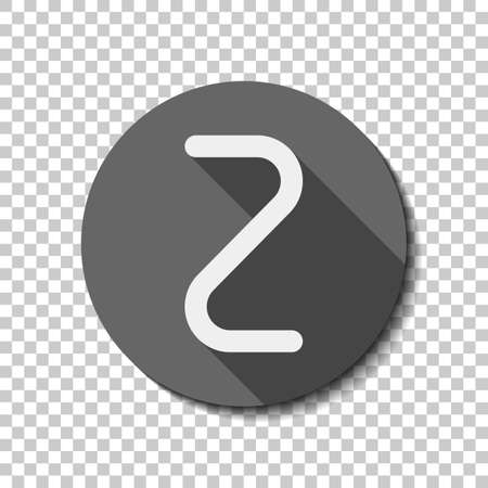 Number two, numeral, simple letter. White flat icon with long shadow in circle on transparent background. Badge or sticker style