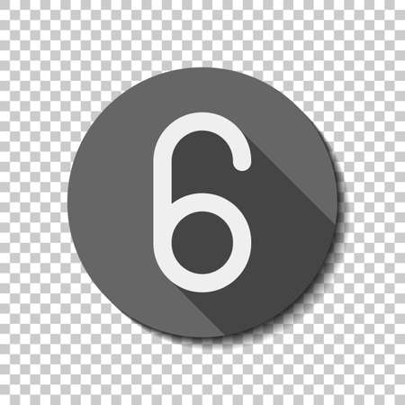 Number six, numeral, simple letter. White flat icon with long shadow in circle on transparent background. Badge or sticker style