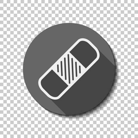 medical patch, simple icon. White flat icon with long shadow in circle on transparent background. Badge or sticker style