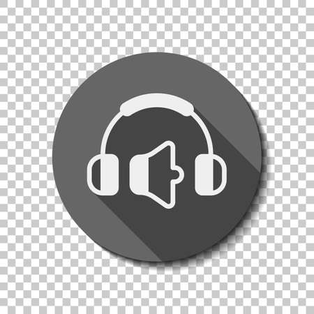 Headphones and volume level. Min volume level. Simple icon. White flat icon with long shadow in circle on transparent background. Badge or sticker style
