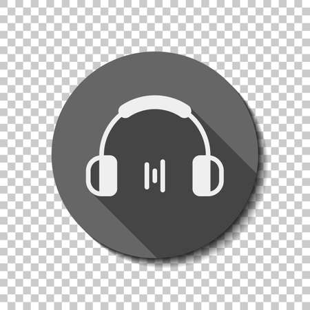 Headphones and music wave. Min volume level. Simple icon. White flat icon with long shadow in circle on transparent background. Badge or sticker style Ilustração