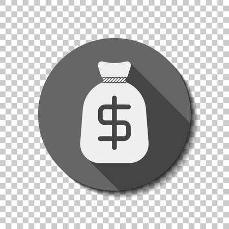 Money bag with dollar. Full moneybag icon. White flat icon with long shadow in circle on transparent background. Badge or sticker style