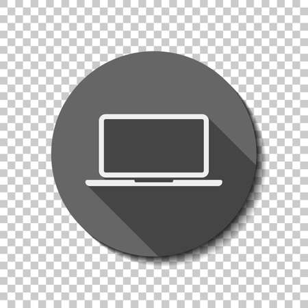 Laptop or notebook computer icon. White flat icon with long shadow in circle on transparent background. Badge or sticker style Ilustração