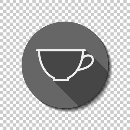 Simple cup of coffee or tea. Linear icon, thin outline. flat icon, long shadow, circle, transparent grid. Badge or sticker style