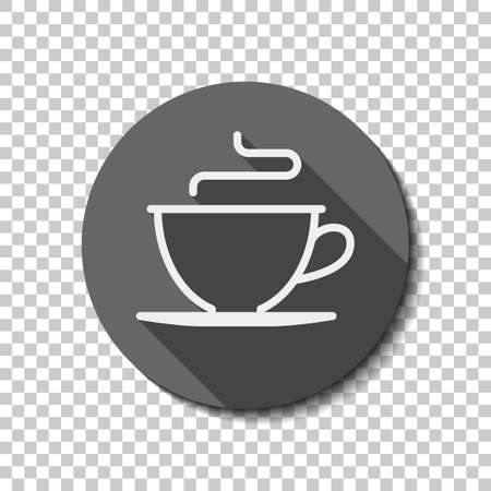 Simple cup of coffee or tea. Linear icon, thin outline. flat icon, long shadow, circle, transparent grid. Badge or sticker style Фото со стока - 103145938