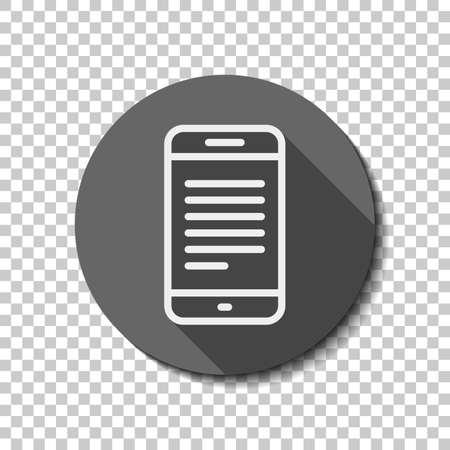 Teléfono móvil con texto en pantalla. Icono lineal simple con contorno delgado. Icono plano blanco con sombra en círculo sobre fondo transparente. Estilo de insignia o pegatina