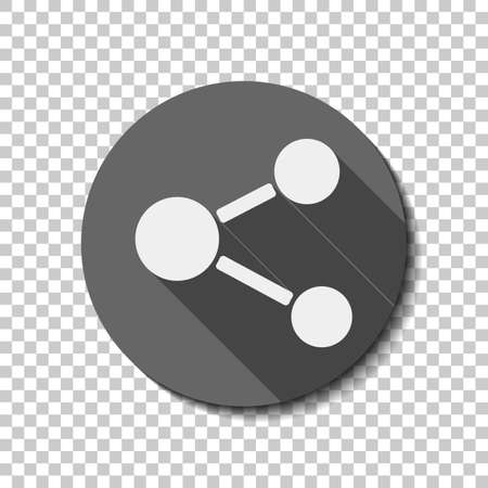 Simple share icon. White flat icon with long shadow in circle on transparent background. Badge or sticker style 矢量图像