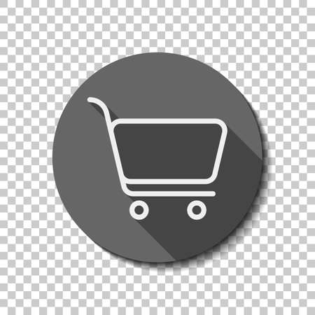 shopping cart icon. Simple linear icon with thin outline. White flat icon with long shadow in circle on transparent background. Badge or sticker style