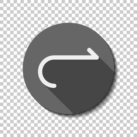 Simple arrow, forward. Navigation icon. Simple arrow, backward. Navigation icon. Linear symbol with thin line. One line style. White flat icon with long shadow in circle on transparent background. Badge or sticker style