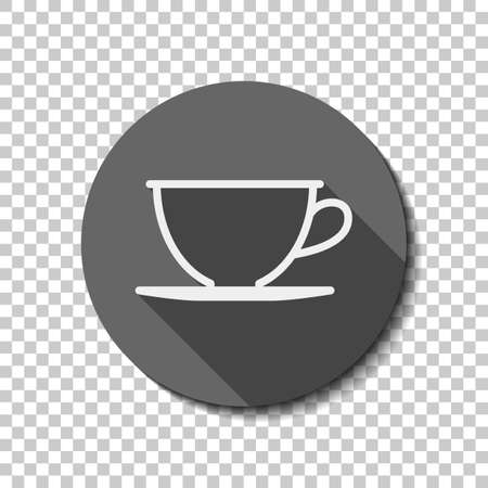 Simple cup of coffee or tea. Linear icon, thin outline. flat icon, long shadow, circle, transparent grid. Badge or sticker style Фото со стока - 121822398