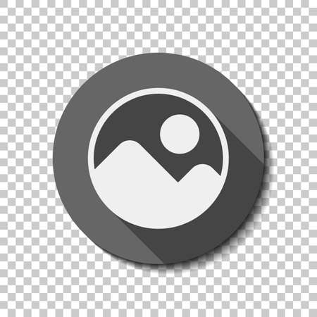 Simple picture icon. flat icon, long shadow, circle, transparent grid. Badge or sticker style