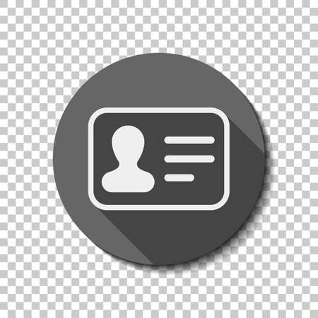 Identification card icon. ID profile. flat icon, long shadow, circle, transparent grid. Badge or sticker style