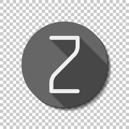 Number 2, numeral, two. flat icon, long shadow, circle, transparent grid. Badge or sticker style