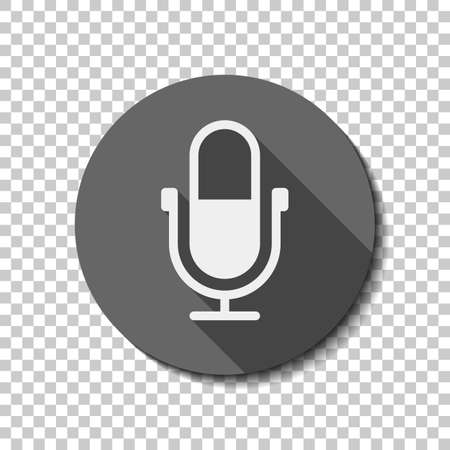 Simple microphone icon. flat icon, long shadow, circle, transparent grid. Badge or sticker style