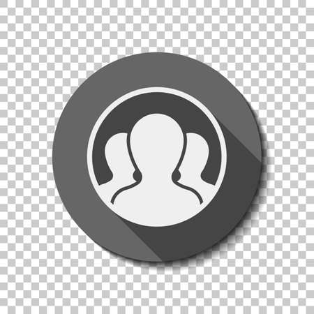 Team in circle, few person. flat icon, long shadow, circle, transparent grid. Badge or sticker style