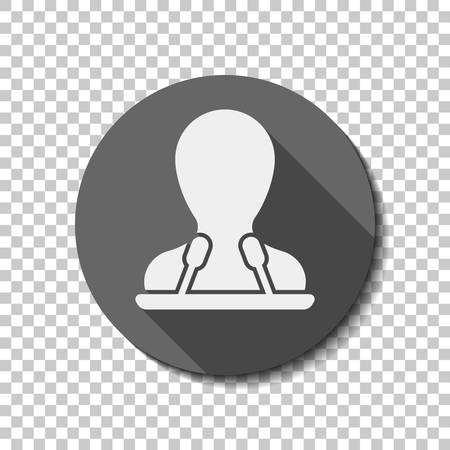 Speaker icon. Person silhouette and microphones on tribune. flat icon, long shadow, circle, transparent grid. Badge or sticker style Vettoriali