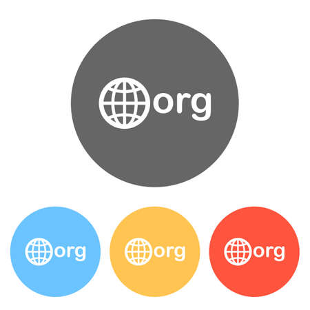one of first domains for non-profit organization, globe and org. Set of white icons on colored circles