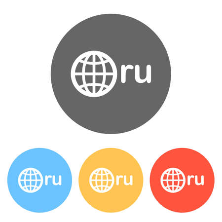 domain of Russia, globe and ru. Set of white icons on colored circles