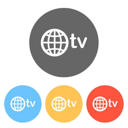 dominio para medios y television, globo y tv. Conjunto de iconos blancos en círculos de colores