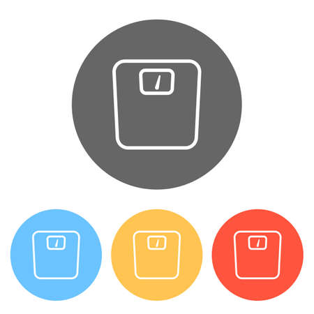 silhouette or icon of weights, simple outline. Set of white icons on colored circles