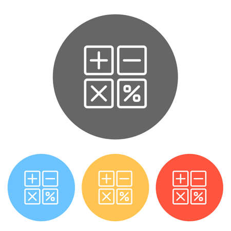 simple icon of calculator. Set of white icons on colored circles