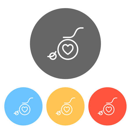 wheelchair and heart, outline icon. Set of white icons on colored circles