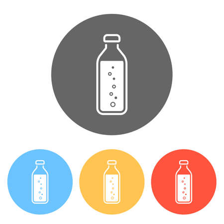 bottle of water with bubbles, simple icon. Set of white icons on colored circles